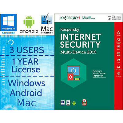 KASPERSKY INTERNET SECURITY 3 USER 1 YEAR 2017 MULTI-DEVICE DOWNLOAD LICENCE KEY