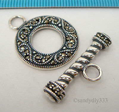 1x STERLING SILVER MARCASITE STONE ROUND TOGGLE CLASP 20mm  #2286