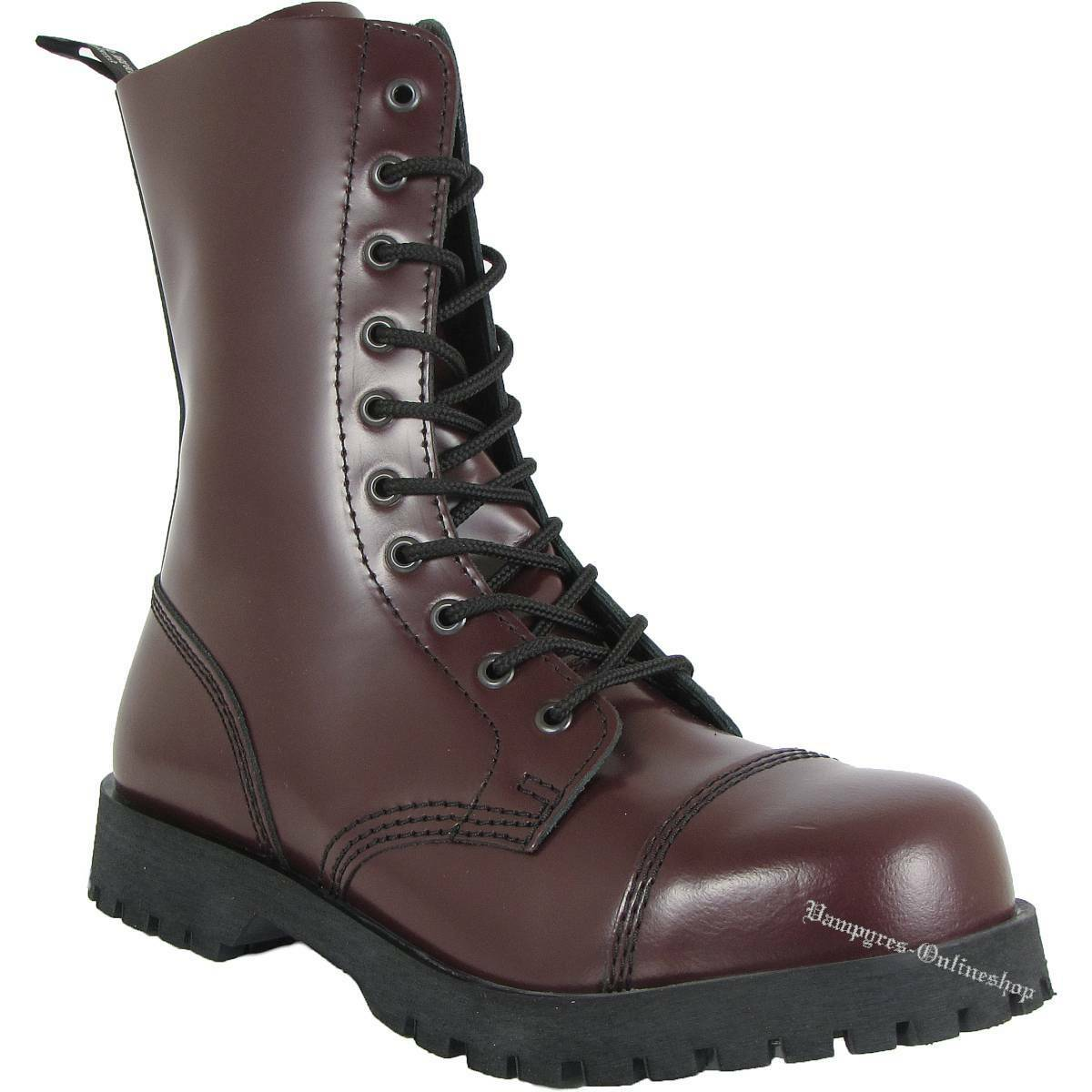 Boots & Braces Stiefel 10-Loch Cherry red Leder Rangers And Stahlkappen Oxblood
