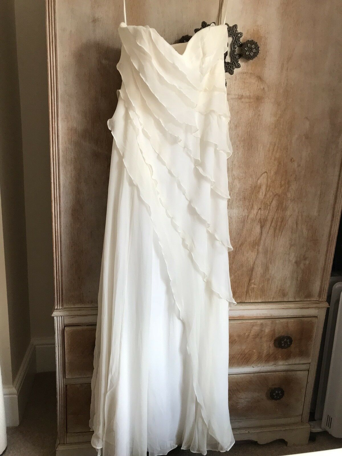 Coast Ivory Cream Monroe Strapless Strapless Strapless Maxi Tiered Frill Dress 8 Wedding Waterfall 1251ba