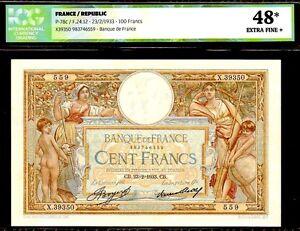 FRANCE-P78c-1933-034-ALLEGORICAL-034-100-FRANCS-GRADED-ICG-48-EXTRA-FINE