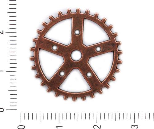 6pcs Antique Tone Washer Gear Steampunk Wheel Pendant Connector For Bracelets...
