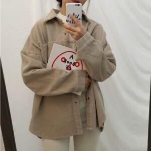 Lady-Corduroy-Shirt-Retro-Casual-Button-Down-Blouse-T-shirts-Coat-Soft-Jackets