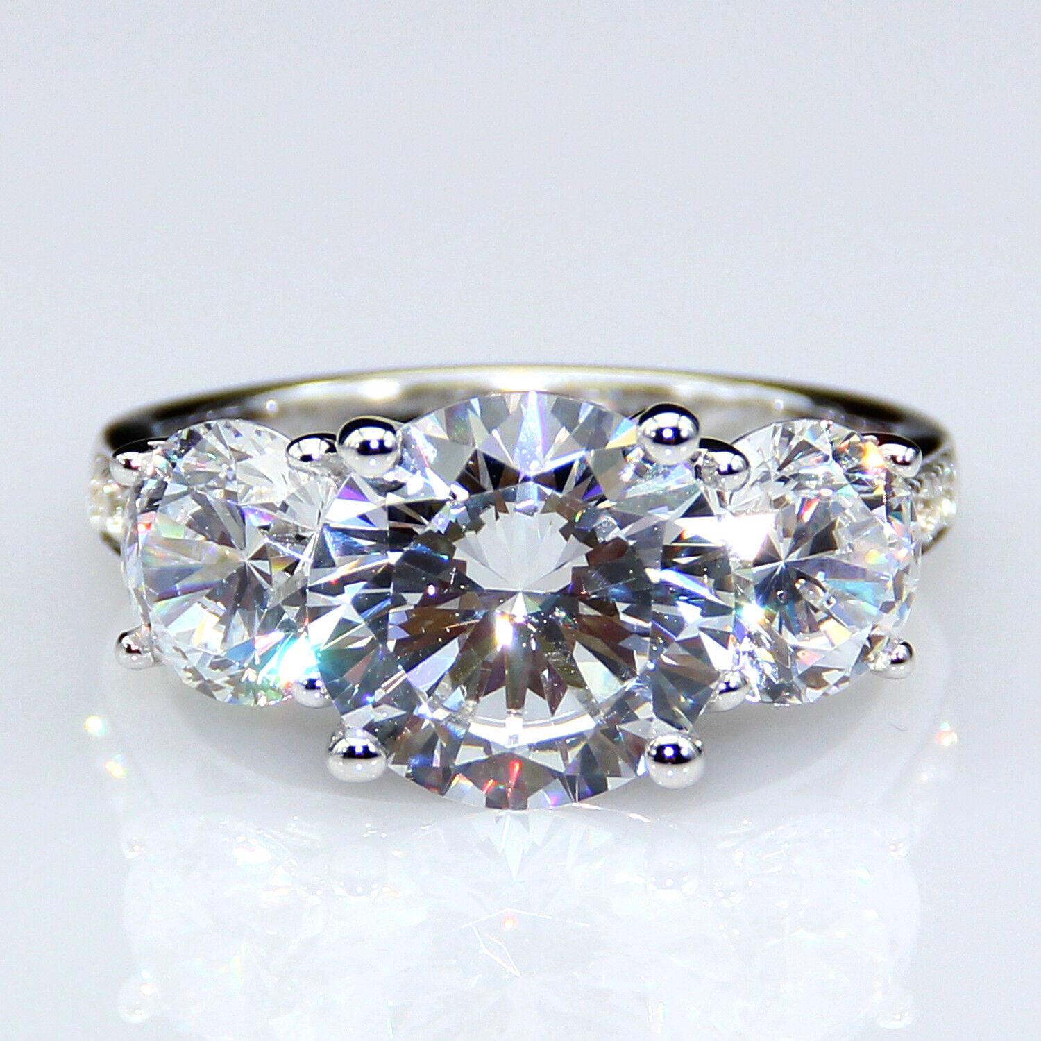 Classic Modern Round Cut 3CT Moissanite Solid 14K White gold Engagement Ring