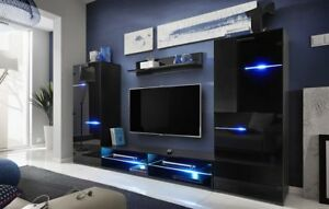 Wall Unit Modern Living Room Set Tv Stand Entertainment Hight Gloss Led Lighting Ebay