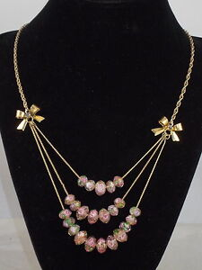 Betsey-Johnson-Goldtone-Pink-Flower-Glass-Bead-Rose-Bows-Layer-Necklace-42