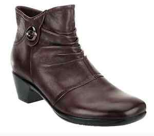 277e641af579 Earth Origins Mallory Leather Ankle Boots w  Button Detail brown 9m ...