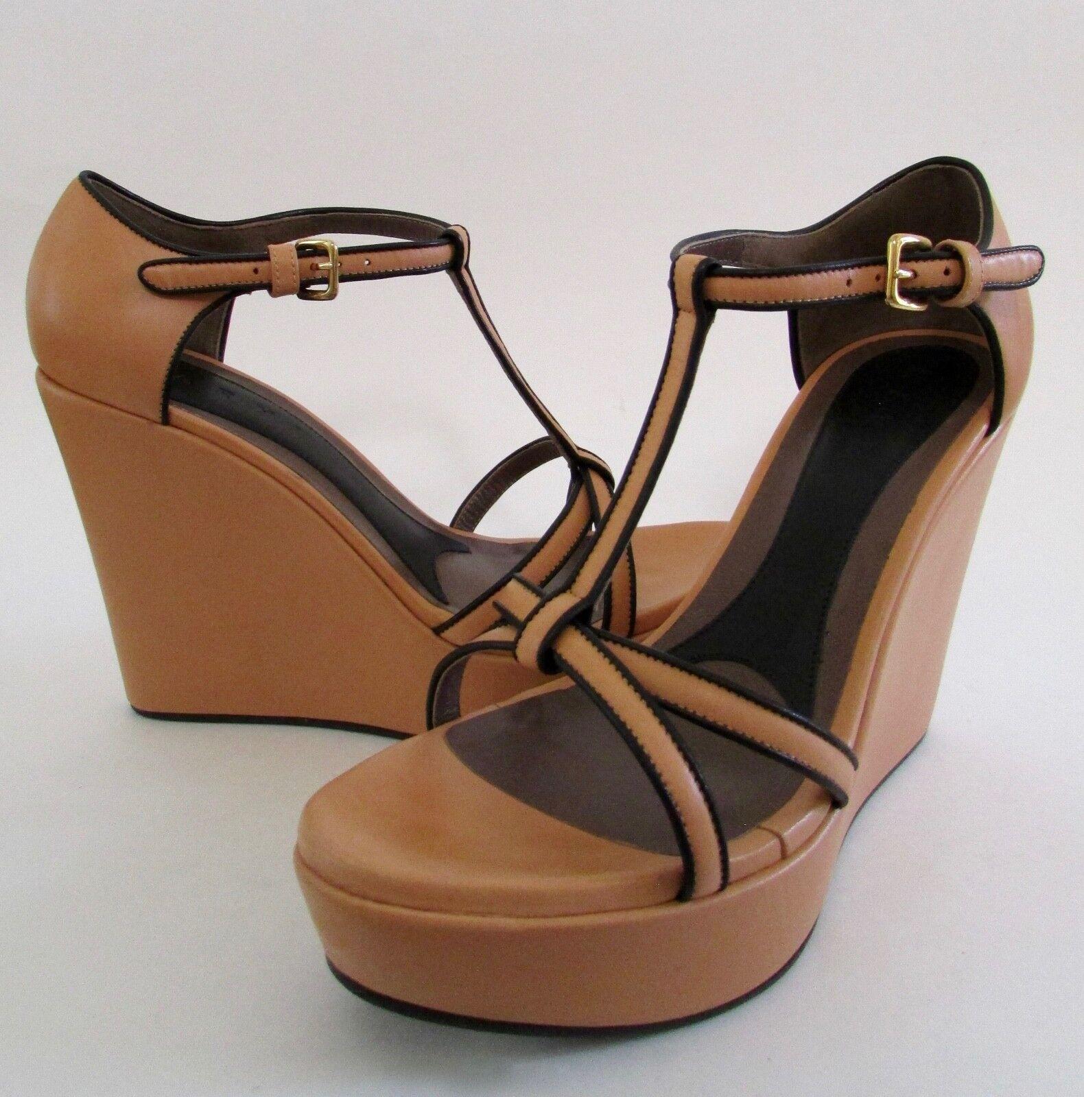 autorizzazione MARNI arancia arancia arancia Leather Platform Wedge Heels Sz 7  outlet online economico
