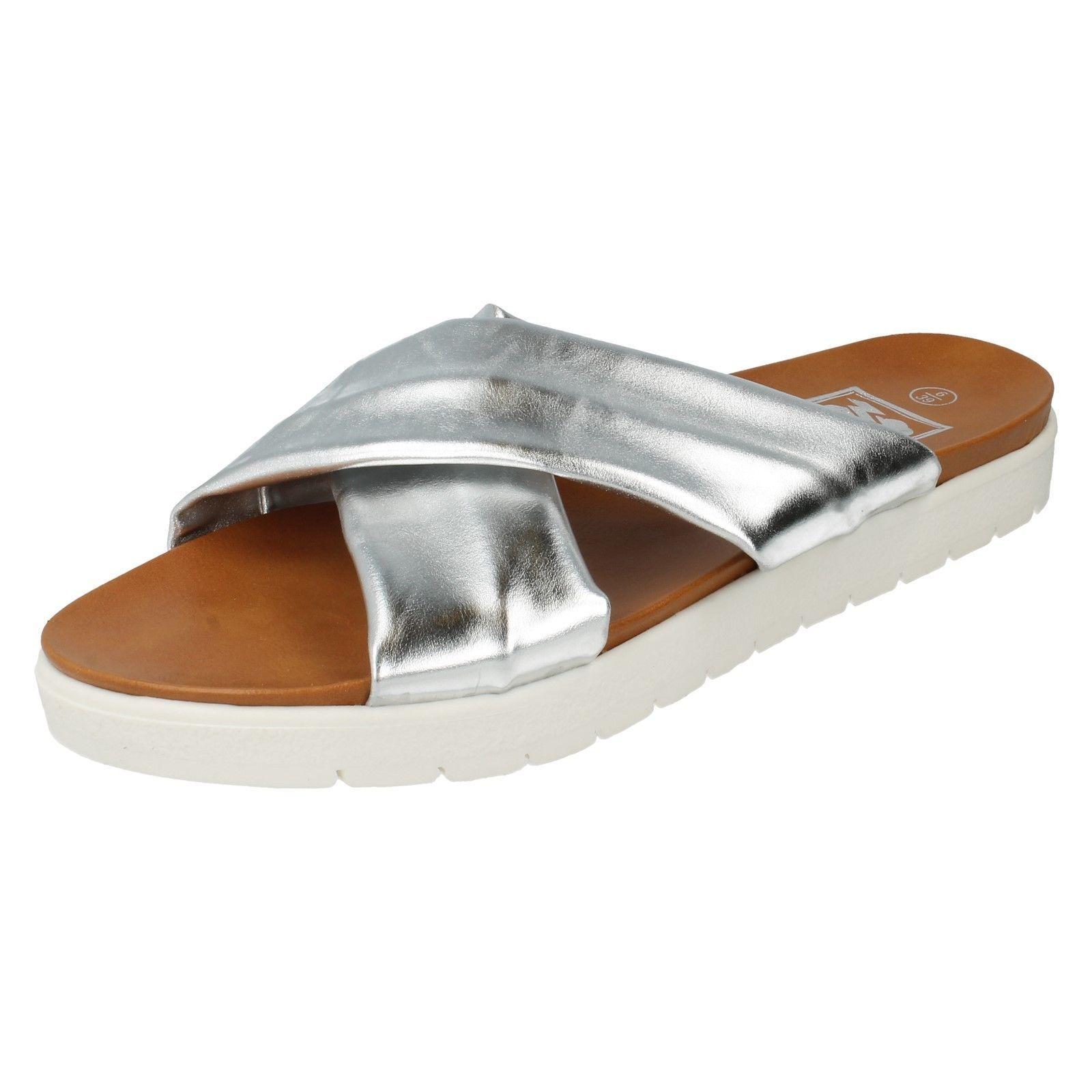 SALE Ladies Down To Earth F10397 Ladies SALE Silver Metallic Synthetic Slip On Mule Sandals 0b43bd
