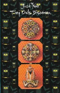 Just-Nan-TINY-OWLS-BISCORNU-Linen-Chart-Instructions-Beads-Ribbon-amp-Some-Floss
