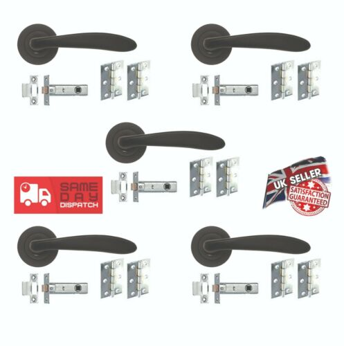 5 Pack of door handles /'Mars Lever on Rose/' Matt Black High Quality SALE!