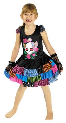 Kostüm Rocker Punker 140 152 Lovely Punk Kleid und Armstulpen für Kinder Gr