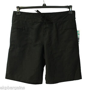 New-With-Tags-Island-Escape-Womens-Swim-Front-Tie-Surf-Board-Long-Shorts-Black