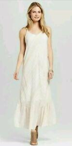 9ffb373d72e Knox Rose Boho Maxi Dress X-Small Tan White Sleeveless Pheasant ...