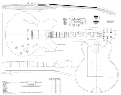Gibson es-335   electric  archtop jazz GUITAR PLANS Full scale   detailed