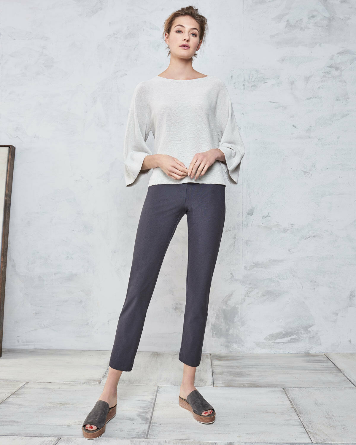 NWT EILEEN FISHER Stretch Graphite Crepe Slim Yoke Ankle Pants 168 XS S M