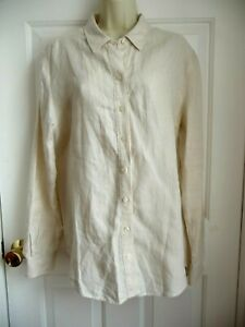 82e440f1b13c Lord & Taylor L NEW Shirt Blouse 100% Linen White Sand Button Down ...