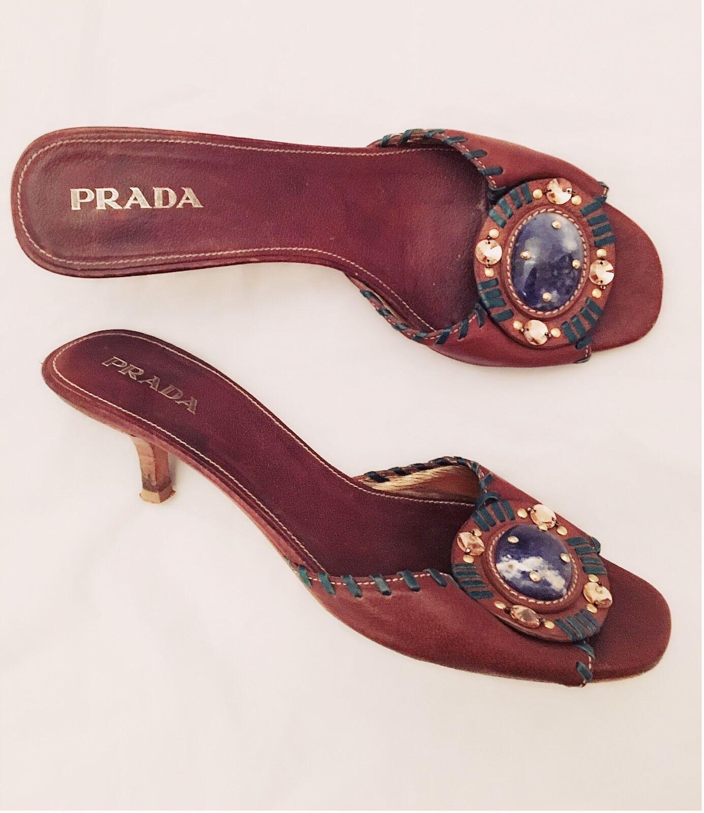 Women's - PRADA - Lapis Lazuli Brown Leather Kitten Heel Slides Sandals 7.5 / 38
