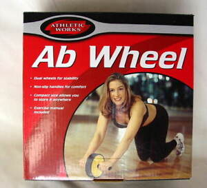 ATHLETIC-WORKS-AB-WHEEL-Roller-Exercise-Fitness-Dual-Wheels-NEW-NIB