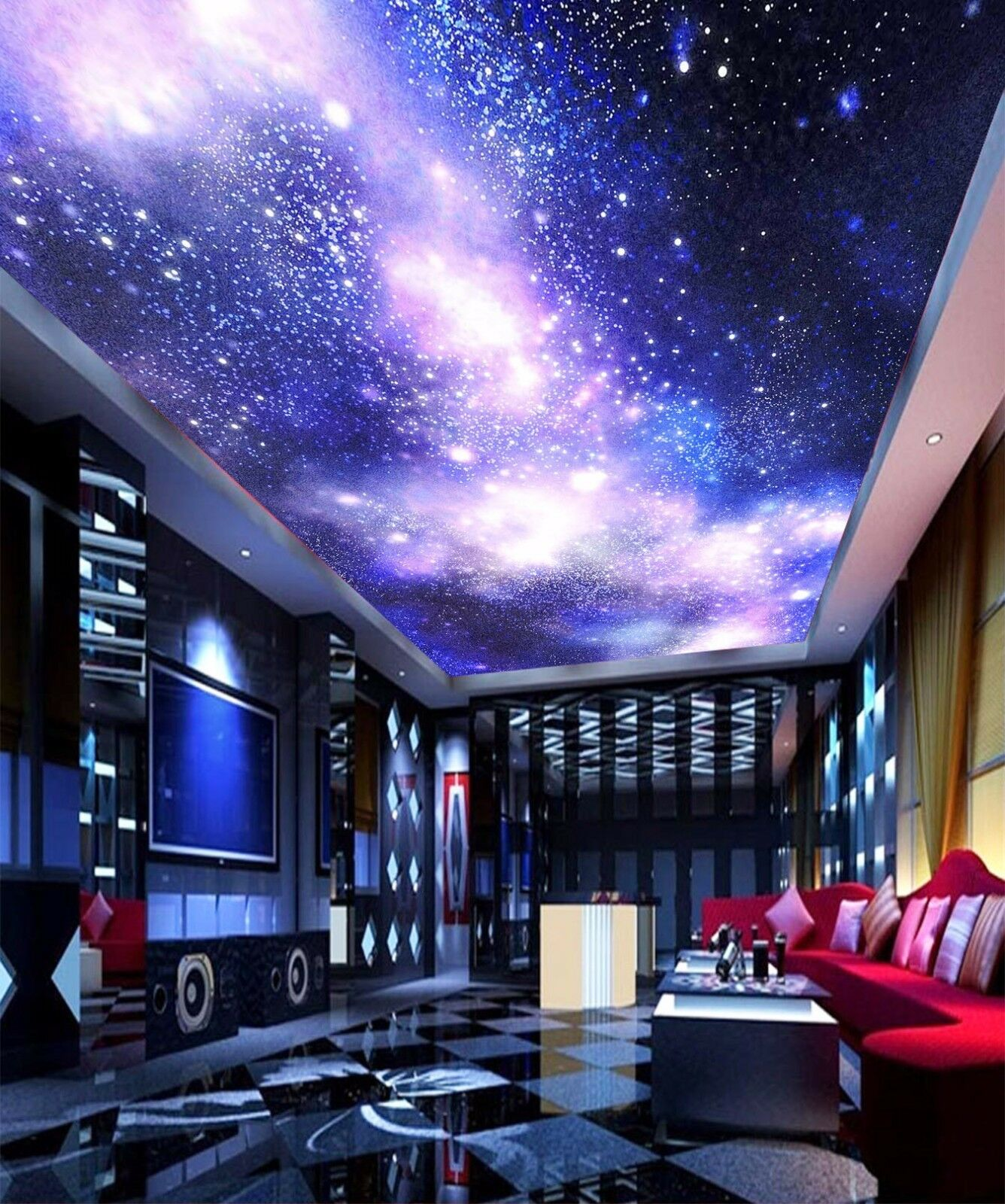 3D Shiny Blau Star 8 Ceiling WallPaper Murals Wall Print Decal Deco AJ WALLPAPER