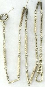 ANTIQUE-14K-WHITE-GOLD-POCKET-WATCH-CHAIN-6-GRAMS-13-5-INCHES