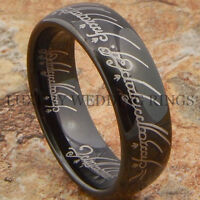 Black Tungsten Lord The Ring Wedding Band Lotr Men's Bridal Jewelry Size 6-13