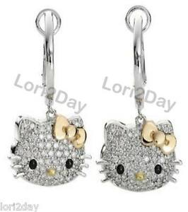 Hello Kitty Gold Bow Crystal Dangle Earrings Free Gift Pouch