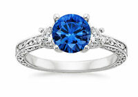 Natural 1.83 Ct Round Diamond Blue Sapphire Ring 18K White Gold Gemstone Ring 2