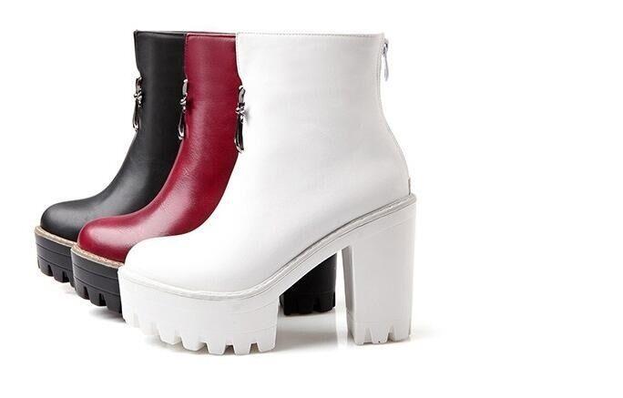 botas zapatos de mujer talón 10 rojo negro binco como piel 8245