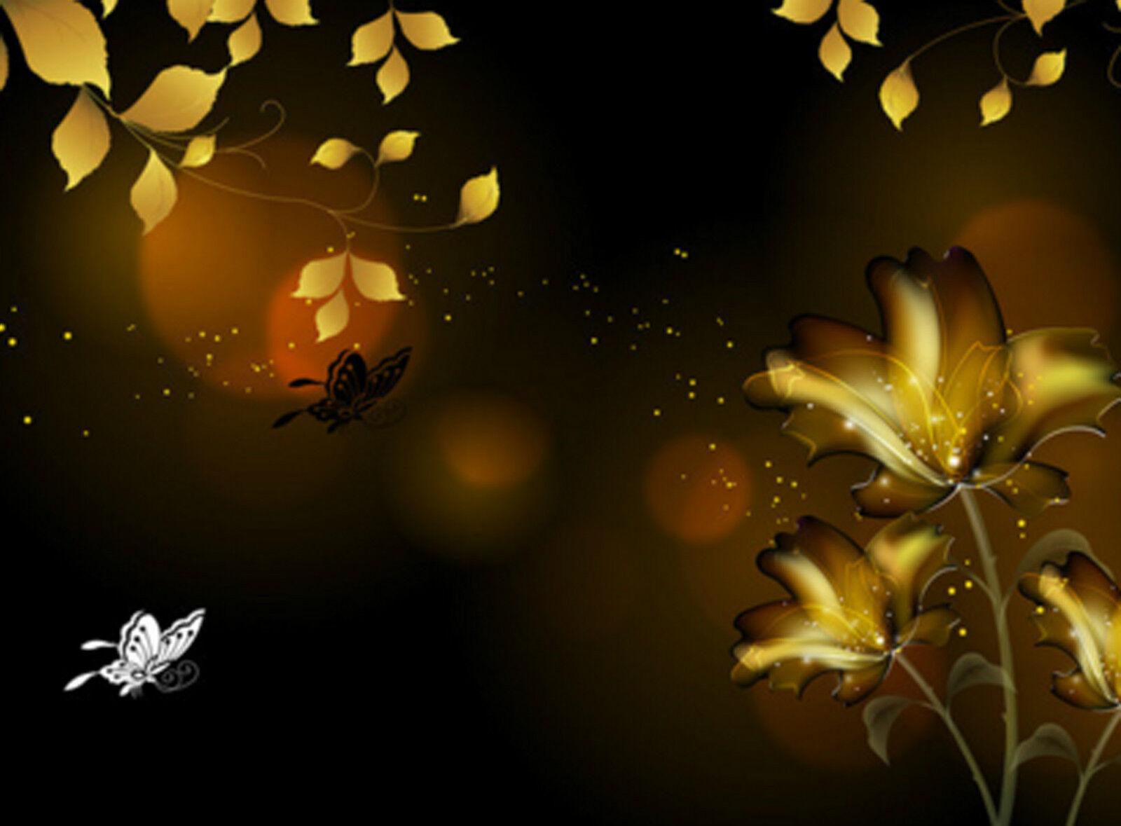 3D Dark Flowers Butterfly 9766 Wall Paper Wall Print Print Print Decal Wall AJ WALLPAPER CA 83717d