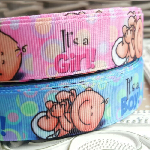 Baby It/'s a Boy 75mm Ribbon Blue Pink Cake Shower Christening It/'s a Girl 25mm