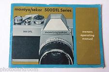 Mamiya Sekor 500DTL Series Camera Instruction Booklet Manual Guide - USED B63