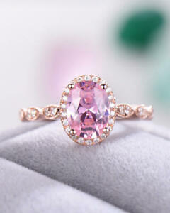 3Ct Oval Pink Sapphire Diamond Solitaire Engagement Ring 14K White Gold Finish