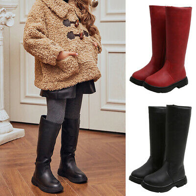 Girls Winter Kids Long Boots Over Knee High Shoes Lace Up Party Casual Comfy US