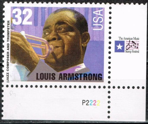 US Famous Musician Louis Armstrong 1996 MNH stamp with rare labels