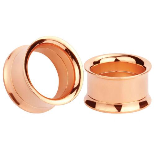ROSE GOLD Stainless Steel Screw Ear Tunnels Piercing Jewellery Plugs TU174