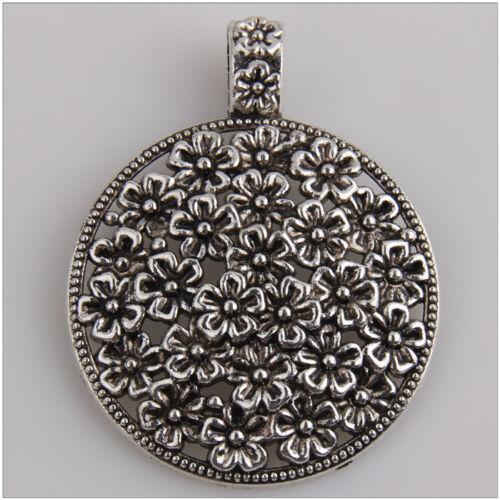 4Pcs Lot of Flower Big Round Pendants Tibetan Silver Jewelry Making EIF0413