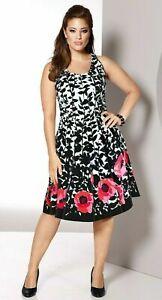watch 2bb1e dcbd6 Details zu Sheego Abendkleid Gr.48+50 Cocktailkleid Kleid Schwarz Weiß  Festlich Blumen knie