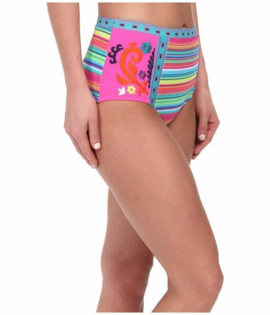 NEW NANETTE LEPORE Bikini Swim Bathing Suit BOTTOMS Small S Pink Stripe Floral