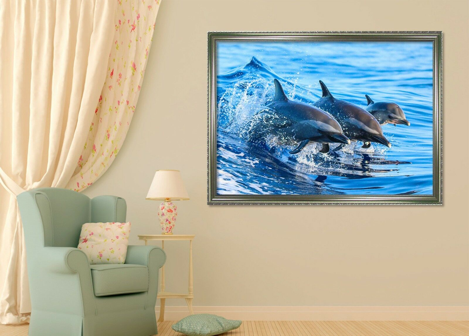 3D Flying Dolphin 4 Framed Poster Home Decor Print Painting Art AJ WALLPAPER