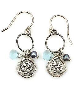 Silpada-Sterling-Silver-Pearl-034-Charmed-I-039-m-Sure-034-Wire-Earrings-W2370