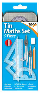 9 Piece TIN MATHS SET - Geometry Exam Back to School Supplies {Tiger Stationery}