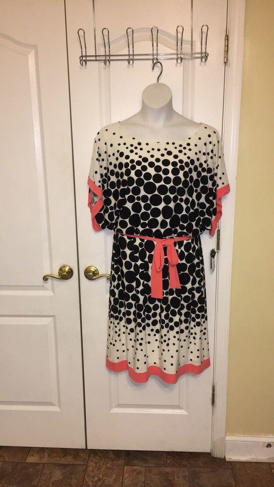 Studio one plus dot dolman blouson ivy blk  coral 14W USA dress