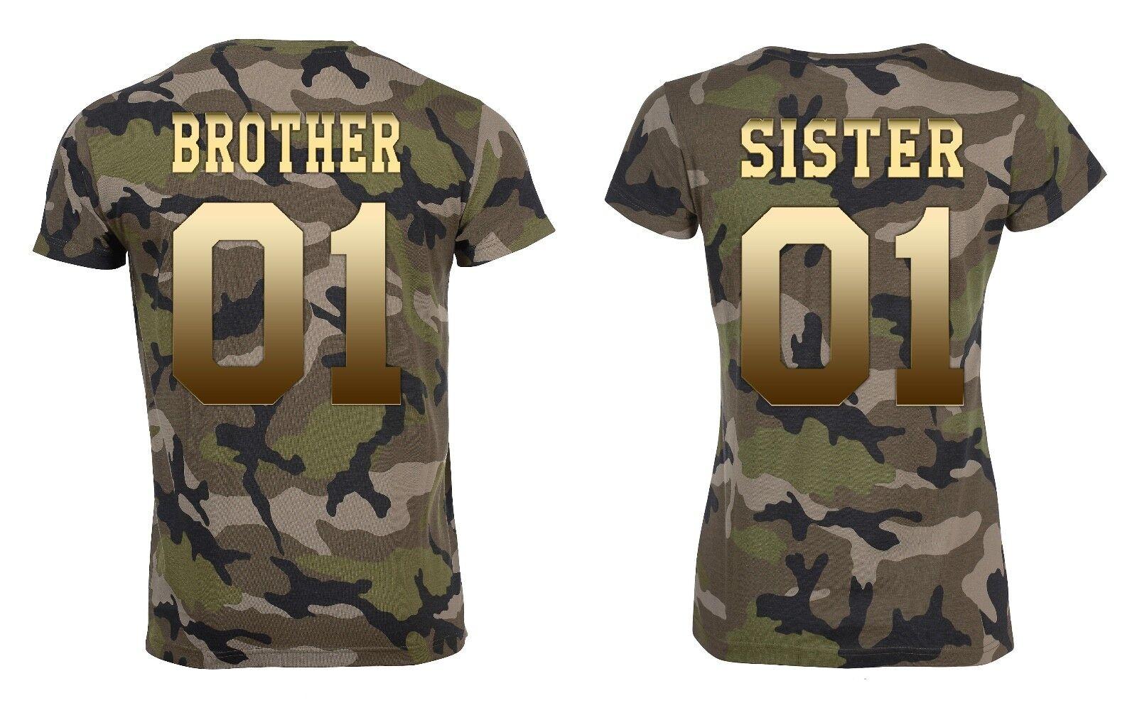 Partner Camouflage T-Shirt SET  BredHER & SISTER  mit WUNSCHZAHL king queen bff