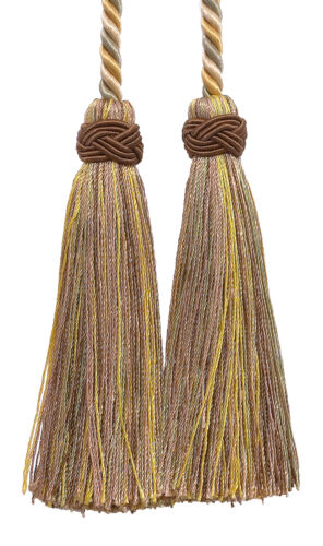 "Beige Gold Green 4/"" Double Tassel Tieback Winter Prairie Invidual"
