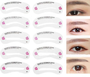 24 Styles Eyebrow Shaping Stencils Grooming Kit Shaper Template ...