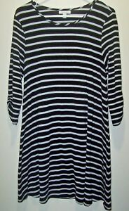 Garnet Hill Black Stripe A-Line Flowy Dress Women's Small Ruched Sleeve Stretchy