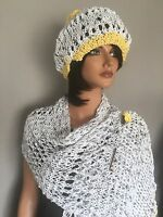 Hand Knit Hat Scarf Cotton Spring Summer Women Designer Fashion Lace Daisy Hip