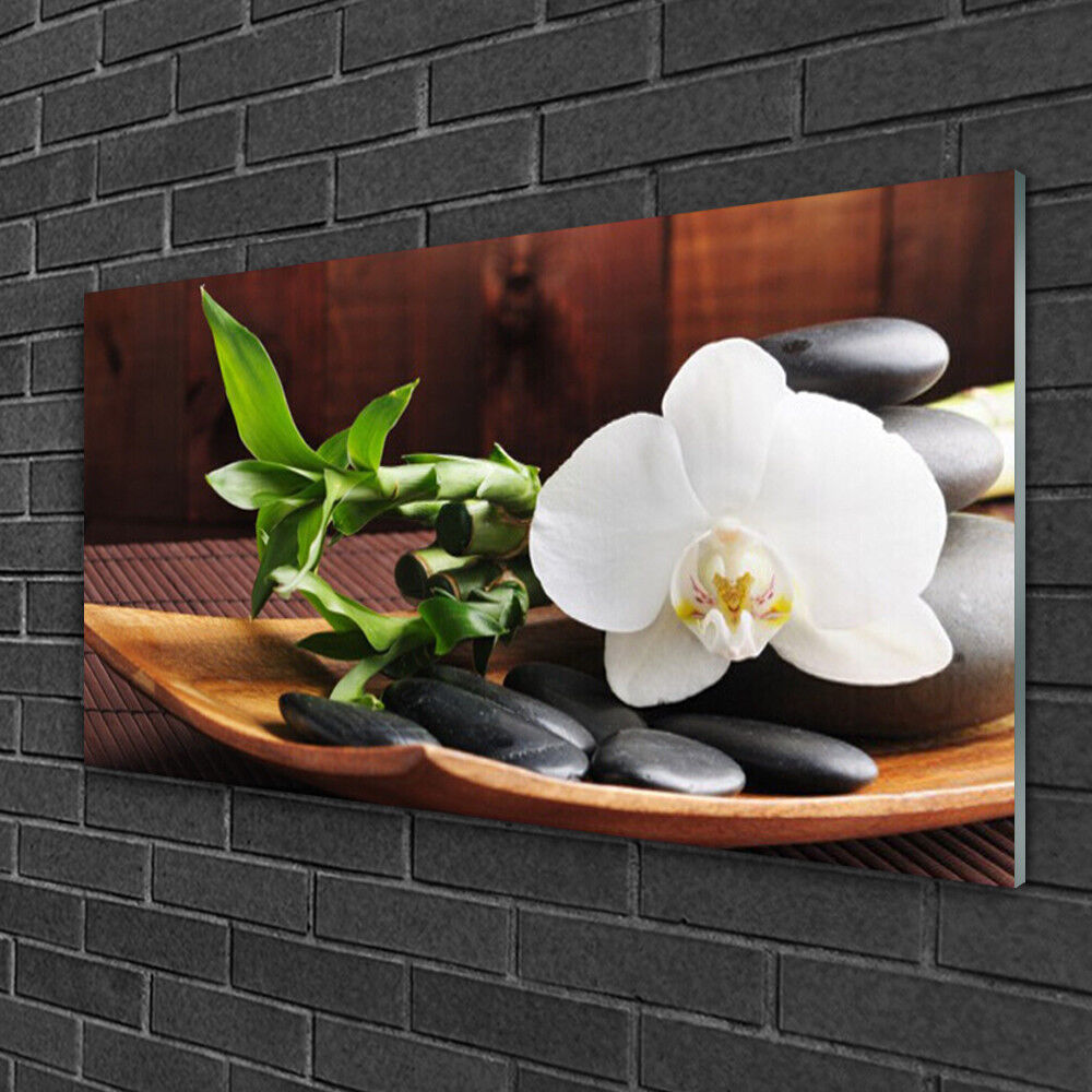 Glass print Wall art 100x50 Image Picture Flower Bamboo Tube Stones Art