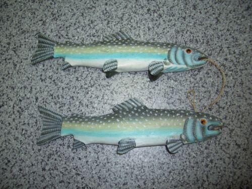 2 Holzfische am Seil Regenbogenforelle 30*9 cm Dekoration Deko Fisch maritim